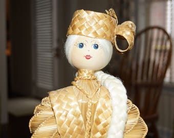"""Vintage Handcrafted Russian Straw/Broomstick Doll-18"""" Tall-Made in Russia"""