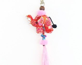 Cute Elephants Keychain With Silk Tassel Handmade Accessories