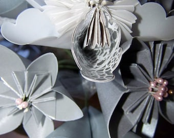 Silver Origami Paper Flowers Set of Ten