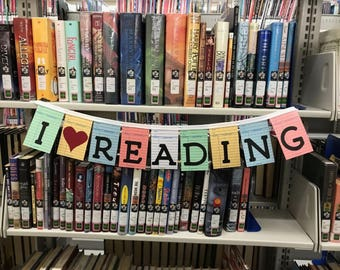 Library sign, book lover, library decor, classroom decor, classroom sign, library banner, book lover gift, book nook, reading nook, banner