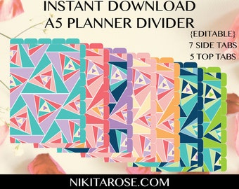 PRINTABLE A5 Planner Dividers   7 Side Tabs   Text Editable   Cut Away Rounded Tabs  Half Size   Rainbow Triangles   Organiser   DOWNLOAD
