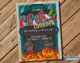 Chili Cookoff Invitation, Chili Competition Invitation, Chili Cookoff Flyer, Chili Competition Flyer, Digital Printable Invitation