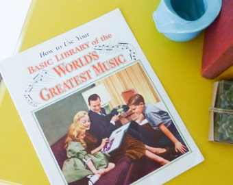 Music booklet, atomic age, classical music, music collection, paper back, mid century, educational, music history, family fun night
