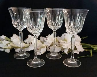 Crystal Stemware, Set of 4 Crystal Wine Glasses, Crystal Wine Glasses, Crystal Glasses, Set of 4 Crystal Stemware, Set of Four Wine Glasses