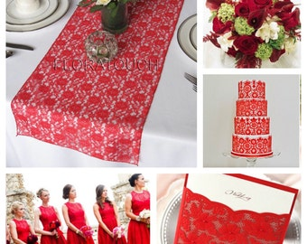 Red Lace Wedding Table Runner