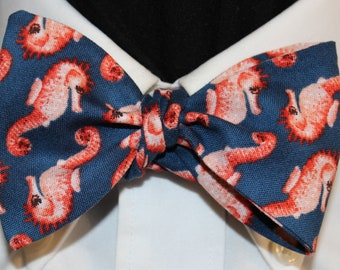 SEA HORSES: Novelty Cotton Bow Tie, for men and women, adjustable Self Tie or 60s Clip On, Colorful Sea Horses swim in blue