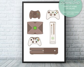Xbox Video Game Printable Art, Microsoft Xbox one, Video Game Decor, Game room, Man cave, Video Game Art, Game Controllers, Printable ART