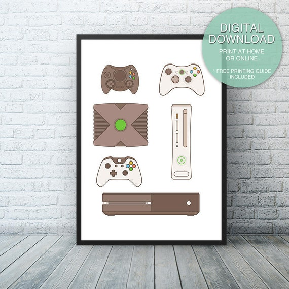 Xbox Video Game Printable Art Microsoft Xbox one Video Game