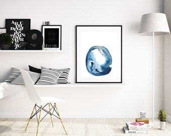 "Modern Blue Abstract Painting ""Alnilam"" by Jules Tillman. Fine Art Print minimal abstract watercolor painting White Silver Scandi Art Prints"