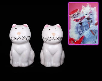1980's Salt and Pepper Cat Shakers Made in Brazil