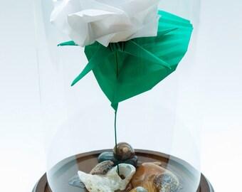 Origami rose in white paper large decorative globe