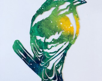 Handcut paper finch bird
