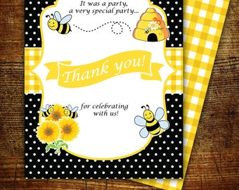 Mom-to Bee matching thank you card, yellow black, digital, customizable text upon request, yellow bee thank you card