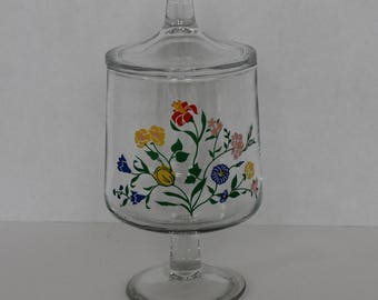 Vintage Floral Glass Apothecary Display Jar Candy Jar