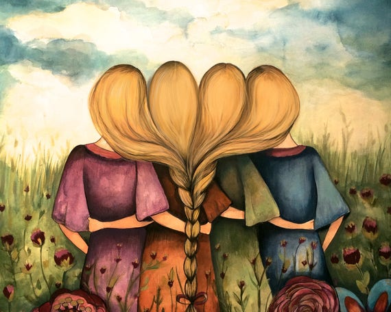 The four sisters best friends bridesmaid intertwined braids present  art print