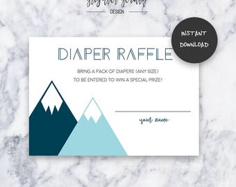 Teal Adventure Diaper Raffle | Baby Shower Insert | INSTANT DOWNLOAD | Do It Yourself | Printable
