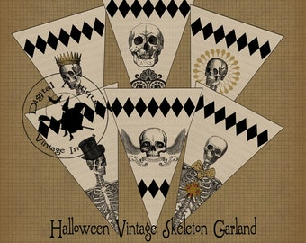 Halloween Vintage Skeleton Banner Garland Instant Download
