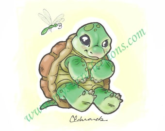 Baby Turtle and Dragonfly Myxie Pal Art Print