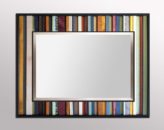 """Reclaimed Wood Mirror - """"India Reflection"""" - 34x40"""" Wood Stripes in Orange, Yellow, Blues, Reds - Modern Wood Wall Art - Abstract Wood Art"""