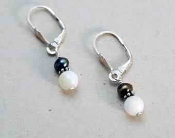 Black and White Yin Yang earrings, Mother of Pearl jewelry, Dainty earrings, Every Day earrings, Yin Yang Gift, Sterling Silver earrings