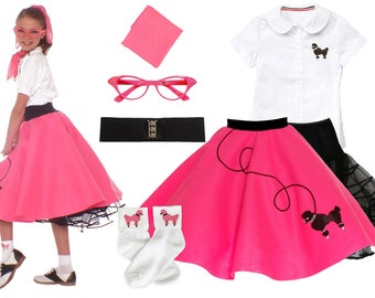 7 pc MEDIUM Child (7-9)  50's Poodle Skirt OUTFIT
