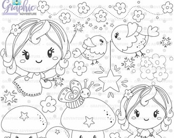 Fairy Stamps, Spring Fairy Stamps, Mushroom Stamps, COMMERCIAL USE, Fairy Tale Stamps, Digi Stamp, Digital Image, Fairy Digistamp