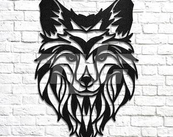 Arctic Fox Head Metal Wall Art