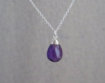 Amethyst Necklace - Sterling Silver or Gold Filled - Natural Amethyst - Amethyst Faceted Pear - February Birthstone Necklace