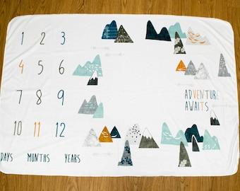 Adventure Awaits Baby Milestone Blanket, Max Mountains Monthly Milestone Blanket, Newborn Photo Prop, Adventurer Monthly Baby Blanket