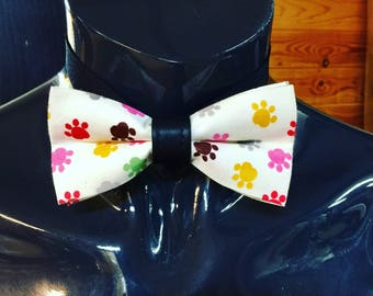 White with Multicoloured Puppy Paws Bow Tie