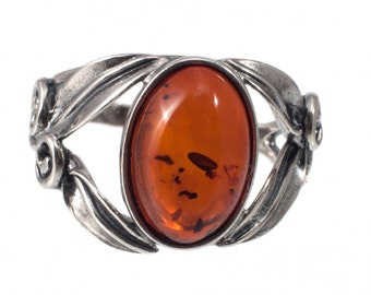 Silver ring with amber | Ring Size 6.5 US