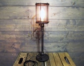 "Table Lamp w/ Rusted Cage 26"" Tall with Repurposed Iron Weight - Upcycled Iron Weight Lifting 5 lb Weight Circa 1970 with Steel Pipe"
