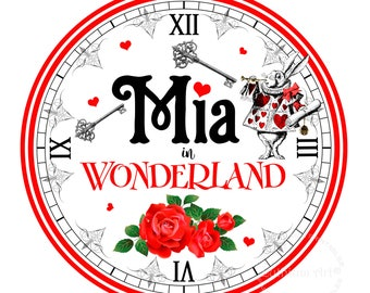 ALICE IN WONDERLAND Clock, Alice in Wonderland Printable Clock, Alice in Wonderland Decorations, Sweet Table Decoration, Large Clock, Alice