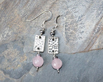 Rose Quartz Earrings, Sterling Silver Earrings, Pink Earrings, Hammered Silver Earrings, Dangly Earrings, Mother's Day Earrings
