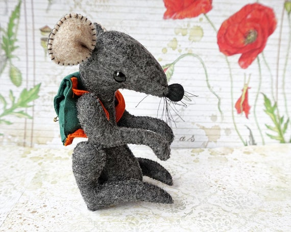 Tooth Fairy,  Mouse, Woodland Animal, Mouse Figurine, Stuffed Mouse, Soft Toy, Art Doll, Plush Doll, Handmade, Kawaii, Art Doll, Cute Mouse