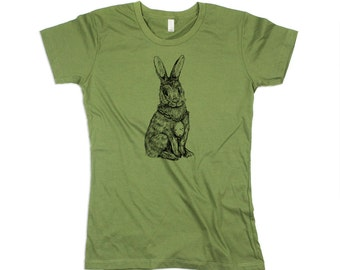 Women Bunny Shirt, Womens Army Green Rabbit Tshirt, Bunny tee, Rabbit Shirt, Bunnies, Eco Friendly Organic Cotton - Small, Medium, Large, XL
