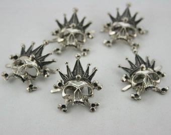 5 pcs.Zinc Silver Tone Skull Crossbone Crown Studs Decoration Findings 25x32 mm. SK N 2532 ST 49