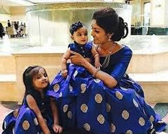 Mother daughter matching dress with pure banarsee brocade