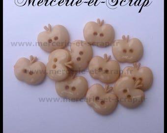 Buttons 6 Apple fruit beige15mm plastic 2 hole