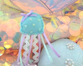 Blue Jellyfish Plush Pin