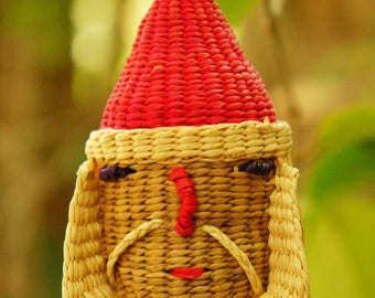 Vintage Basket Weave Santa Christmas Ornament/Tribal/Boho