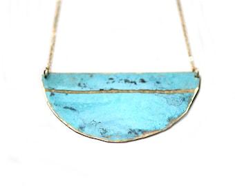 Patina Single Stripe Necklace - Minimal Turquoise Beach Nautical Coastal Hammered Jewelry, Bridesmaids Gift