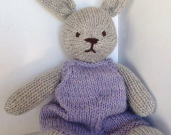 Bunny Rabbit Natural Hand Knit Heirloom Toy Wool Stuffed Animal Lovey