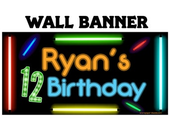 Happy Birthday Banner  ~Cool Glow Photo Birthday Personalized Party Banners - Large Party Banner, Printed Vinyl Banner, Boys Banner