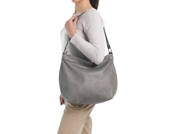 Grey leather hobo purse - Grey leather bag - Soft leather bag - Large slouchy handbag -  LARGE HELEN