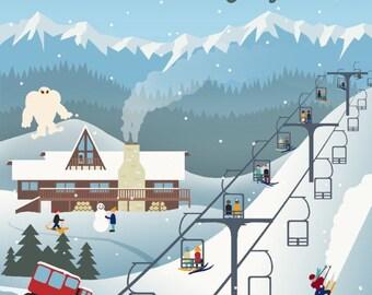 Mammoth, California - Retro Ski Resort - Lantern Press Artwork (Art Print - Multiple Sizes Available)