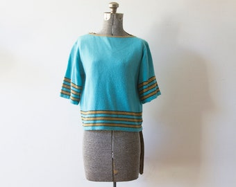 Vintage Knit Top/ Blue/ Vintage Top/ Striped Knit/ Vintage Shirt/ Monarch Knits of California
