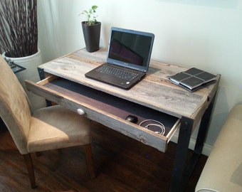 "Old Barn Wood Desk with Drawer and ""U"" Style legs"