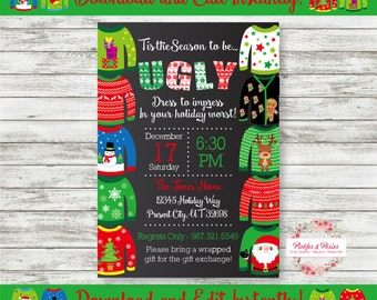 Editable Sweater Party Invitation - Ugly Sweater Party - Christmas Party Invitation - Instant Download - Edit at Home with Adobe Reader Now!