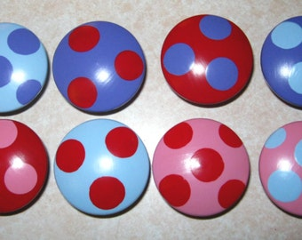 LARGE POLKA DOTS - Hand Painted Wooden Knobs/Pulls - Set of 8 - Great for Kid's Room, Nursery, Kitchen or Office